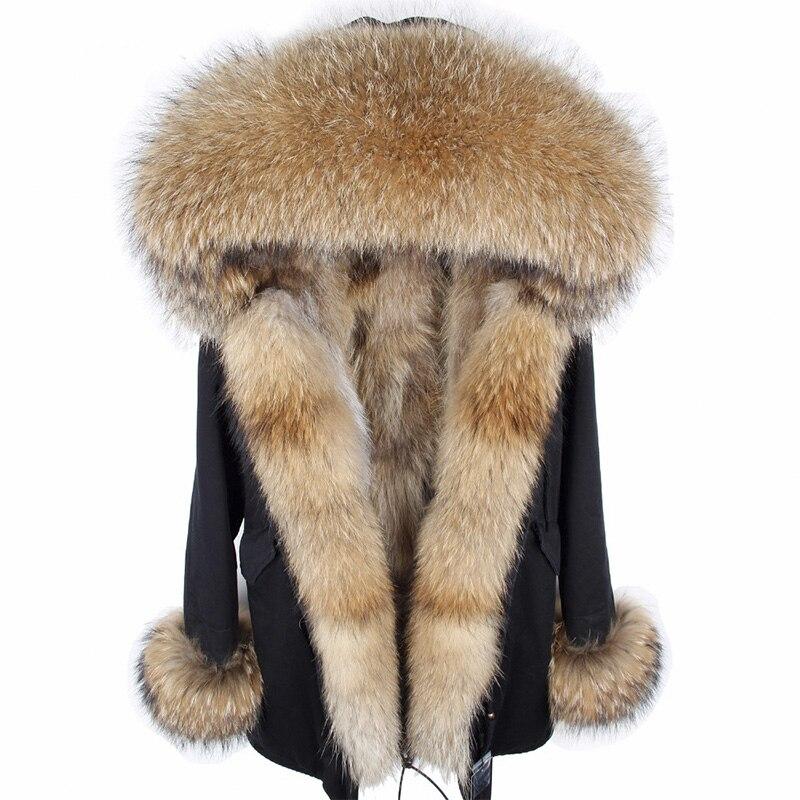 2018 Nouvelle Longue Mode Hiver Veste Femmes Long Réel Fox Fourrure Manteau Chaud De Fourrure épais ParkasNatural Raton Laveur Col De Fourrure Véritable doublé de fourrure