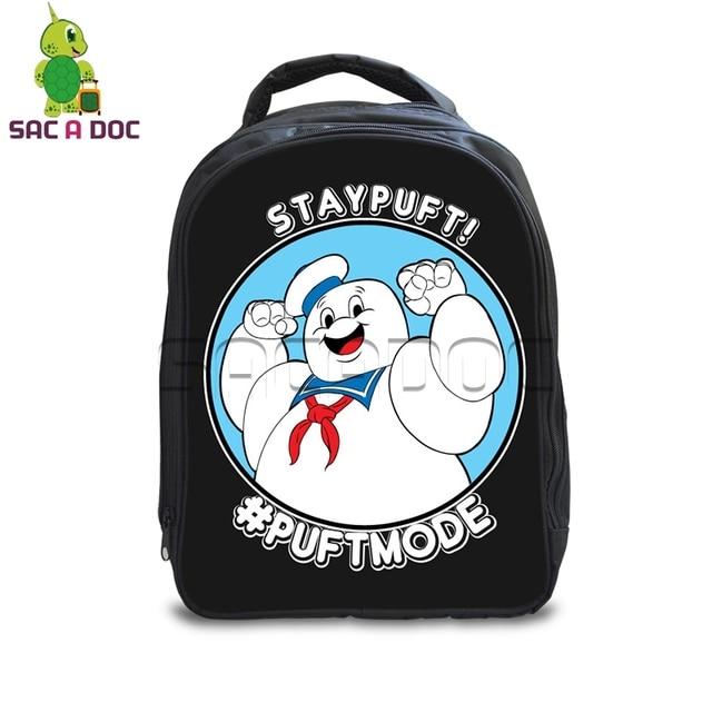 a6a78e0d6e71 Ghostbusters Stay Puft Marshmellow Man Backpack Children Cartoon School  Bags Boys Girls School Backpack Kids Kindergarten
