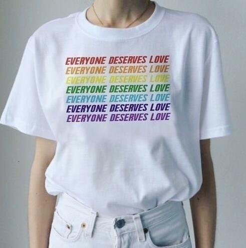 14649d833f3 PUDO XHM Summer Style Fashion Top Tee Everyone Deserves Love Rainbow Color T -Shirt Tumblr Fashion LGBT Gay Pride Slogan Tee
