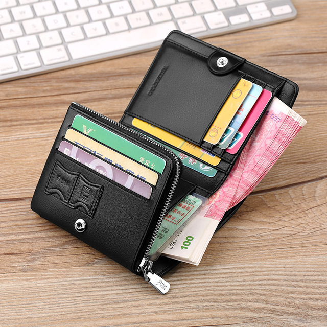 9fa143964c0b Williampolo Genuine Leather supreme Men Wallet Trifold Standard Wallet  Small Zipper Coin Pocket Purse Cowhide Male