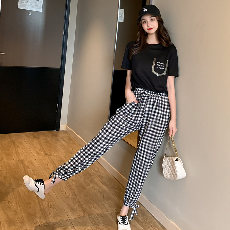Summer Korean Casual Loose   Wide     Leg     Pants   2019 Wild Women Pleated College Style Students Fashion Nine-point Radish   Pants   Female