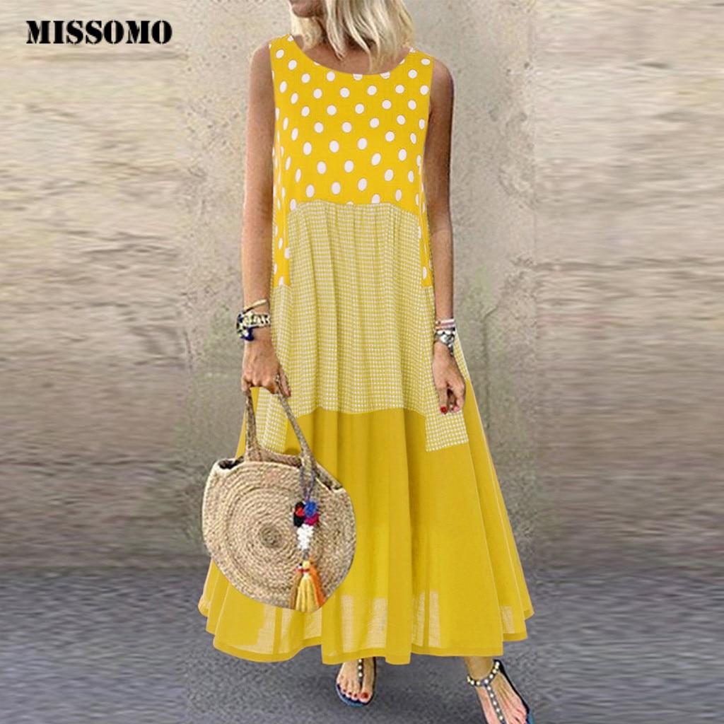 MISSOMO Women Dress Vintage Boho Long Wave Point Print Sleeveless O-Neck Maxi Dress Plus Size Dress Women Clothes Vestidos 625