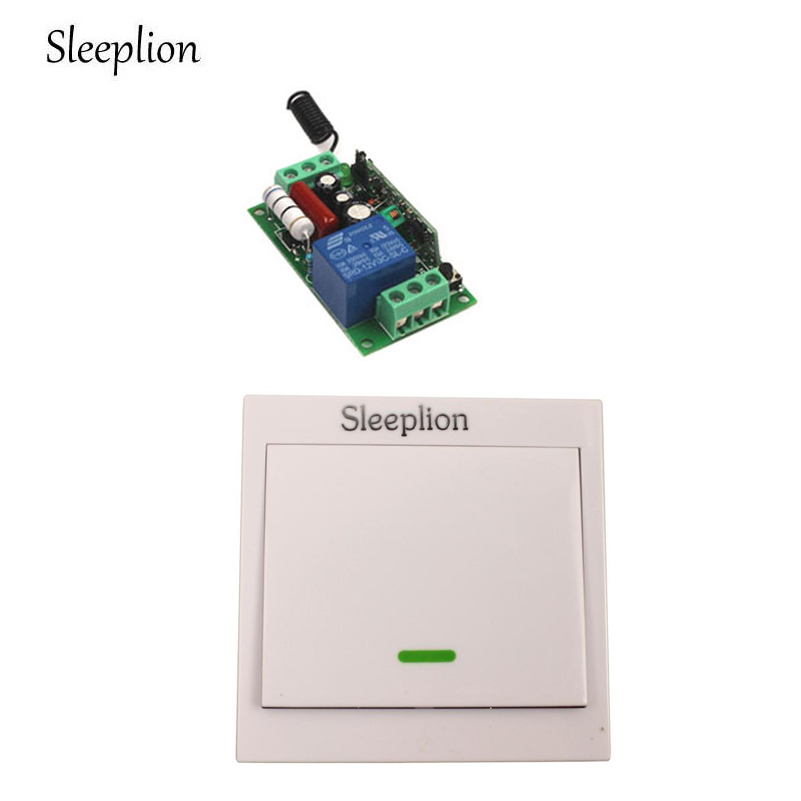 Sleeplion 220V 110V 10A Relay 1CH Home Wireless Wall Switch Transmitter Lamp Lights ON/OFF