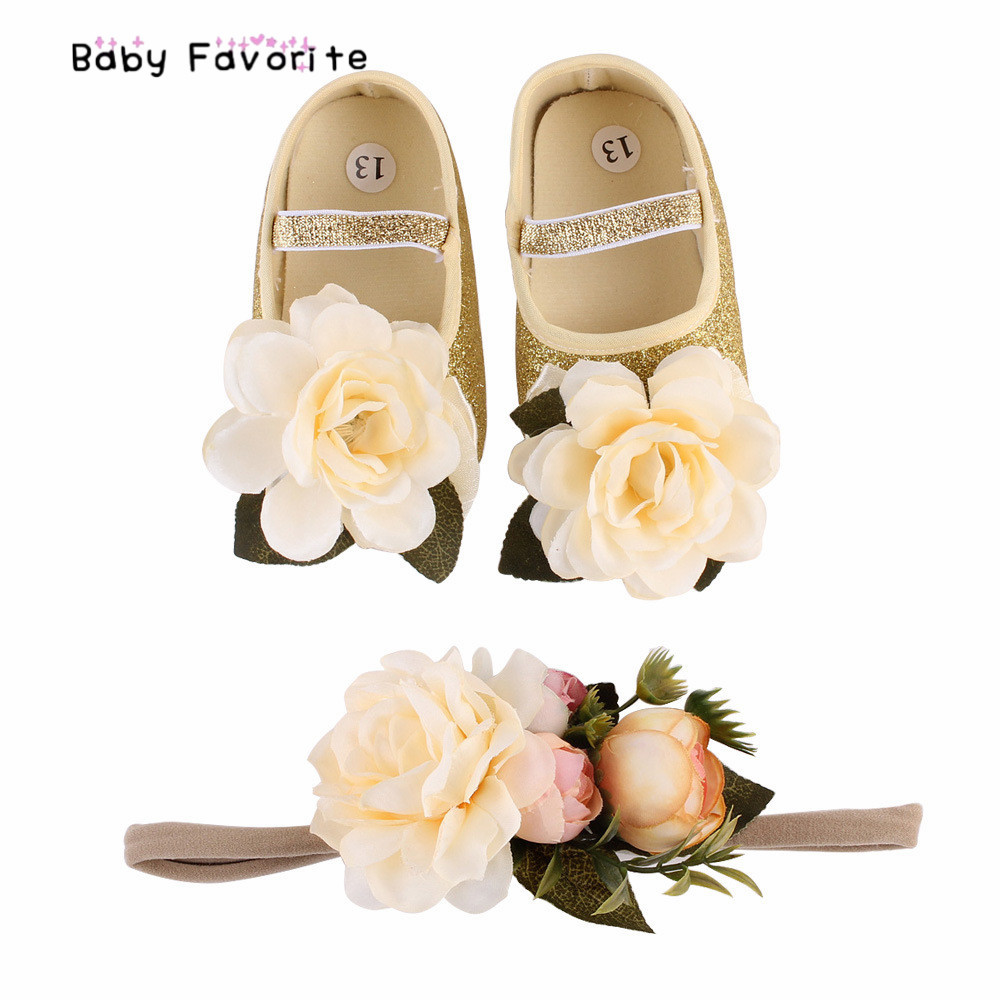 Headband-Set Shoes Moccasins Fabric Baby Booties First-Walk Baby-Girl Infant Flower-Spring