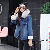 Winter Lamb Wool Coat Women Casual Loose Jeans Coat With Fur Collar Female Thickening Woolen Overcoat Denim Jacket Women A4014