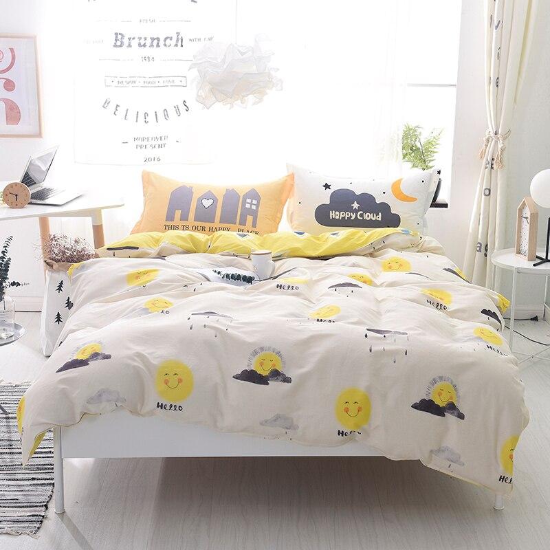 Cartoon white yellow Smiling Face Flaky clouds 4pcs cotton Bedding Set Bedclothes Bed Sheet Duvet Cover Pillowcase home textiles