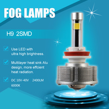 Pairs H9 LED Automotive Fog Lights Cars Bulbs 2SMD Ultra Brightest 6000K White Super Power 20W Car Styling