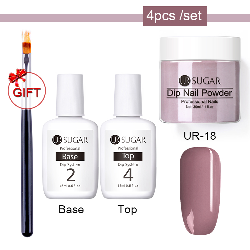 UR SUGAR 4Pcs Dip Nail Powder Set Glitter French Holographic Manicure 30ml Dry Chrome Pigment Dipping For Nails Art