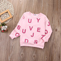 Fashion Toddler Girls Pink alphabet cotton T-Shirt Long Sleeve Pullover Tee Tops