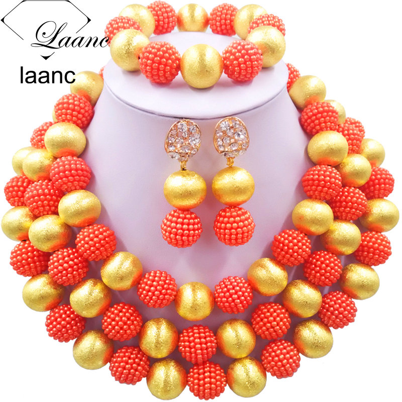 Laanc Orange Simulated Pearl African Wedding Beads Bridal Jewelry Set Nigerian Necklace for Women NAL463Laanc Orange Simulated Pearl African Wedding Beads Bridal Jewelry Set Nigerian Necklace for Women NAL463