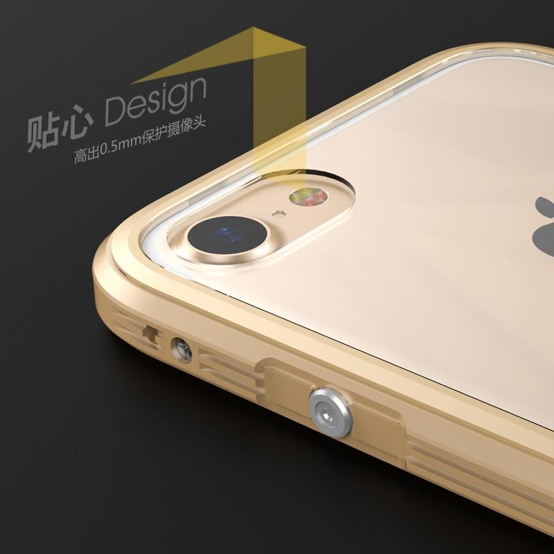Luksusowy metalowy zderzak do obudowy iPhone 7 Przezroczysta obudowa - Części i akcesoria do telefonów komórkowych i smartfonów - Zdjęcie 2