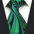 B23 Verde Abstracto Seda Corbata Para Hombre Corbatas Lazo Lazo de La Boda de Moda para hombre Clásico Pañuelo tamaño extra largo