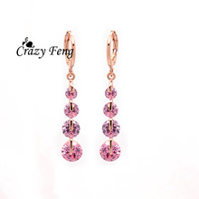 Brand Crazy Feng Engagement Gift Pink Round Cubic Zirconia Dangle Earrings Fashion Women Lady Jewelry Gold Plated Drop
