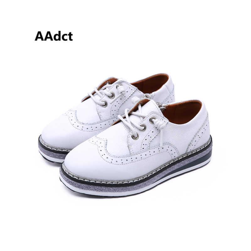 39111c98c Aadct из 2018 натуральной кожи обувь для детей Платформа бренда детская  обувь для девочек плоских весна