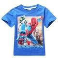 2016 new summer spider man cartoon child boy t-shirt cotton Tee short sleeve sz 3-10 years