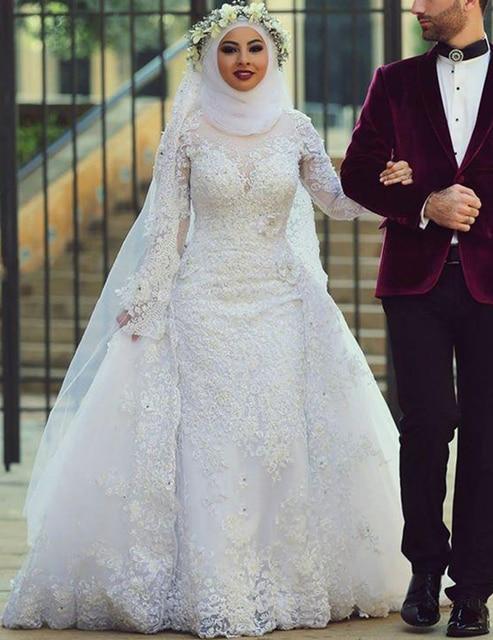 1fb65125f77 2019 White Arab Muslim Wedding Dresses Custom Made Long Sleeve White Lace  Appliques Beads Wedding Gowns Hijab Wedding Dresses