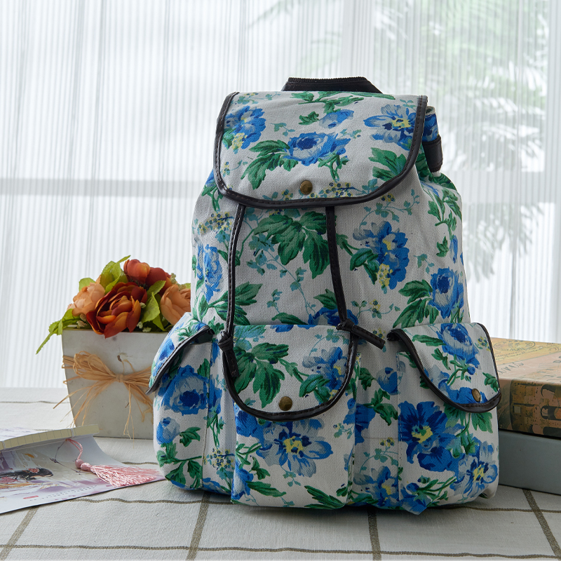 More Colors Vintage Sweet Lady Backpack Fashion Canvas Pattern Backpack Brand Casual Travel Backpack