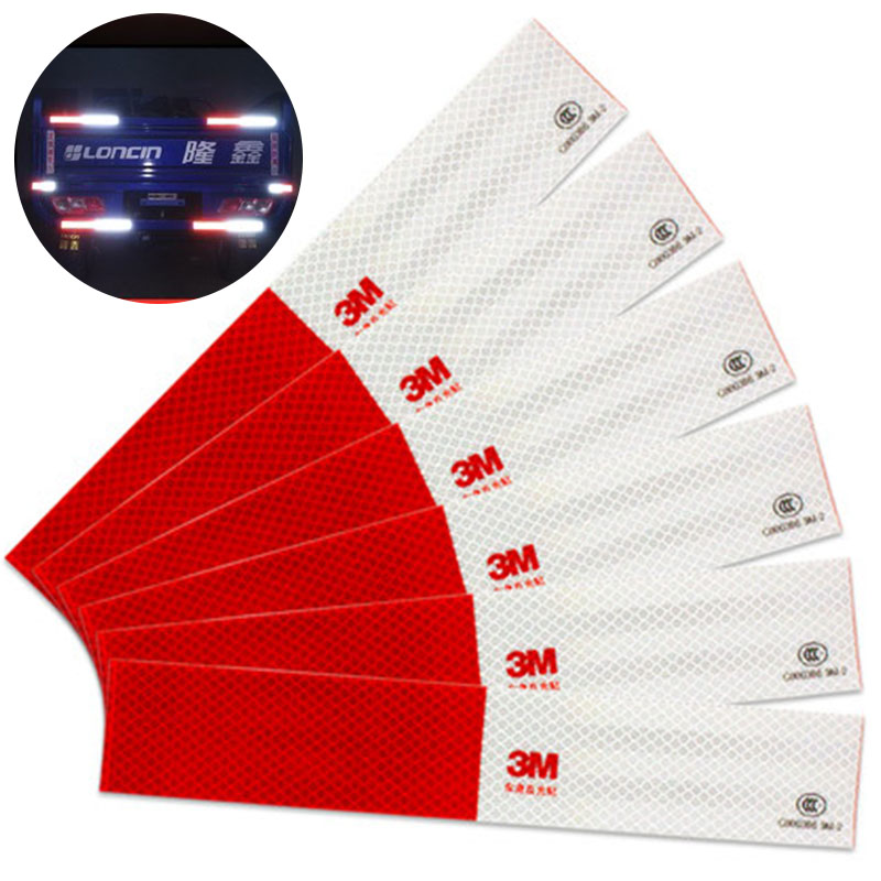 10pcs 5*30cm Car Reflective Stickers Warning Strip Reflective Truck Auto Supplies Night Driving Safety Secure Red White Sticker