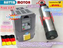 EU Kostenloser MEHRWERTSTEUER CNC 1,5 KW 220V luftgekühlten spindel motor ER11,24000rpm & 1,5 kw Inverter VFD 2HP 220V Für CNC Router Gravur Fräsen