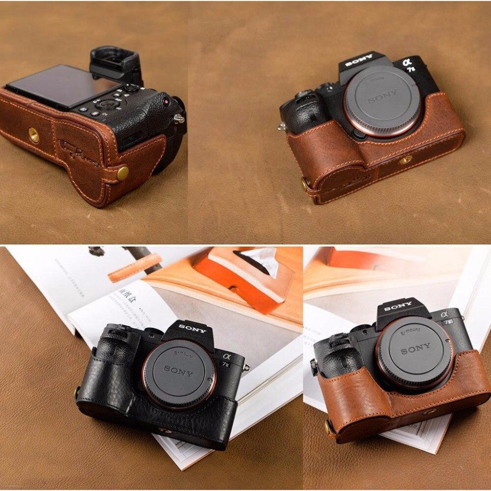 [VR] main Véritable Camera case En Cuir Pour Sony A7II A7 Marque 2 A7R2 A7R II Sac Photo Couvre La Moitié Poignée Vintage cas