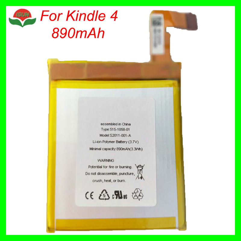 ISUN good quality polymer lithium battery for amazon <font><b>kindle</b></font> <font><b>4</b></font> 890mAh MC-265360 <font><b>D01100</b></font> S2011-001-S DR-A015 battery replacement image