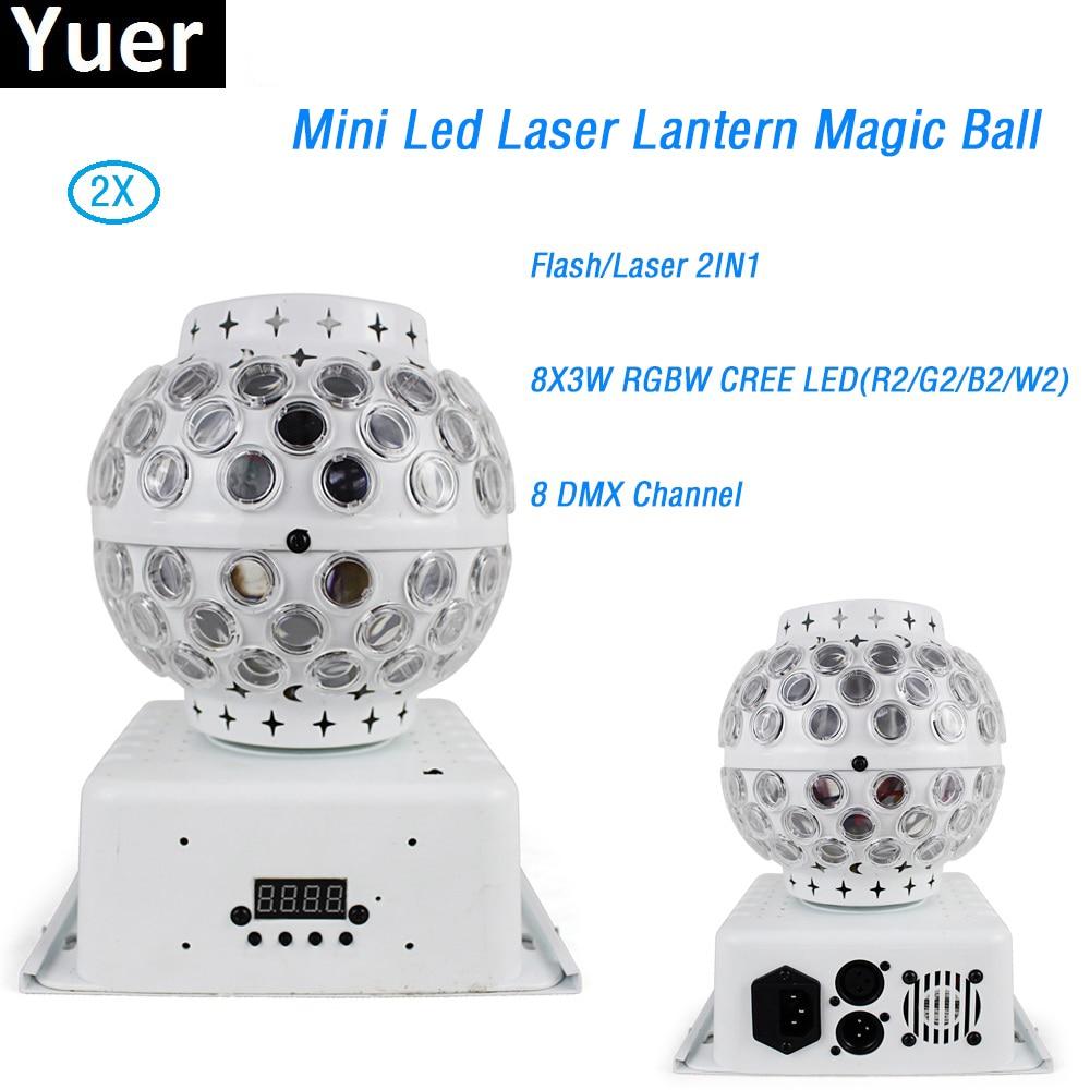 Offre spéciale 2 Pcs/Lot RGBW CREE LED cristal Mini Laser lanterne magique boule effet de scène éclairage lampe ampoule pour fête Disco Club DJ