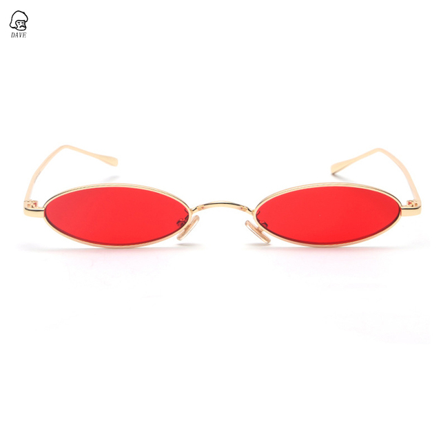 7327bbb51a DAVE Retro Small Oval Sunglasses Women Men Brand Designer Gold Metal Frame  Yellow Red Lens Small
