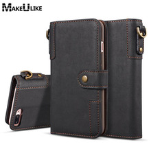 hot deal buy makeulike flip wallet case for iphone 7 7 plus  cover pu leather fashion strap phone bags cases for apple iphone 7 plus case