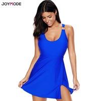 JOYMODE Plus Size Swimwear Women One Piece Swimsuit Skirt 2018 Vintage Solid Bathing Suit Dress Monokini