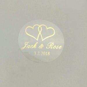 Image 1 - 150 шт. 30 мм индивидуальный Золотой Печатный персонализированный прозрачный Свадебный Пригласительный конверт с уплотнением наклейка