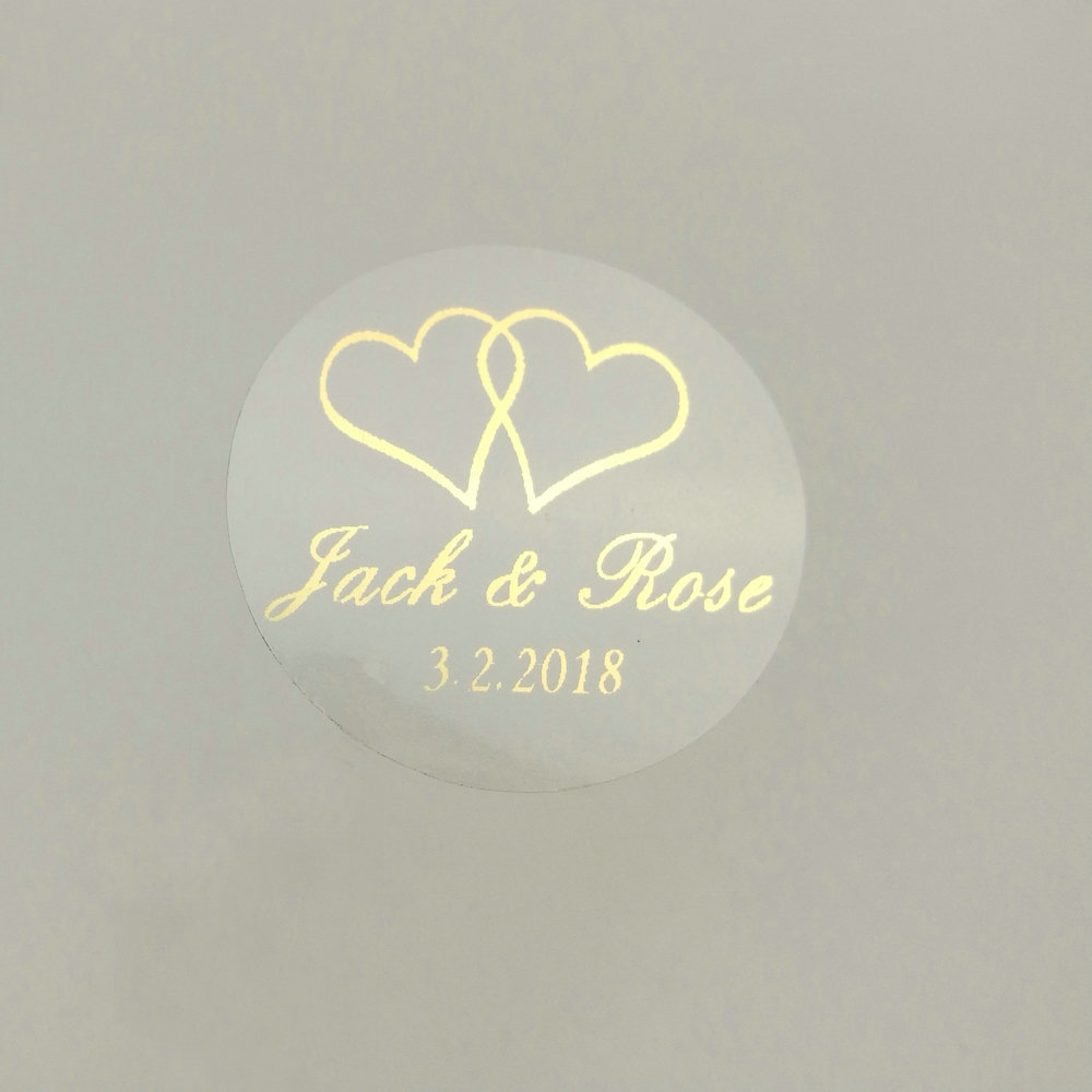 150pcs 30mm Customize Gold Printing Personalised Clear Transparent  Wedding Engagement Invitation Envelope Seals Sticker-in Party DIY Decorations from Home & Garden
