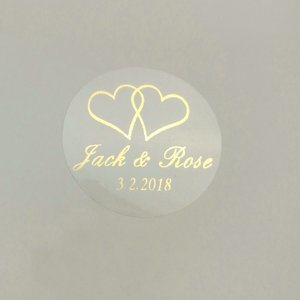 Image 1 - 150pcs 30mm Customize Gold Printing Personalised Clear Transparent  Wedding Engagement Invitation Envelope Seals Sticker