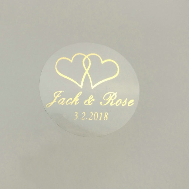 150pcs 30mm customize gold printing personalised clear transparent wedding engagement invitation envelope seals sticker