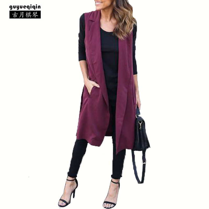 Guyueqiqin Sleeveless Long Trench Coats For Women Irregular Open Stitch Femme Outerwear Turn-down Collar Trench Coat Size 2XL
