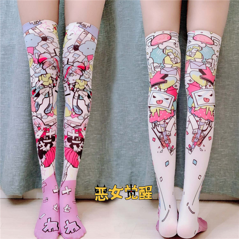 2019 New Women Over The Knee Stockings Polyester Thin Funny Cartoon Long Stockings For Girl Print High Stockings 7ZJQ-SW08