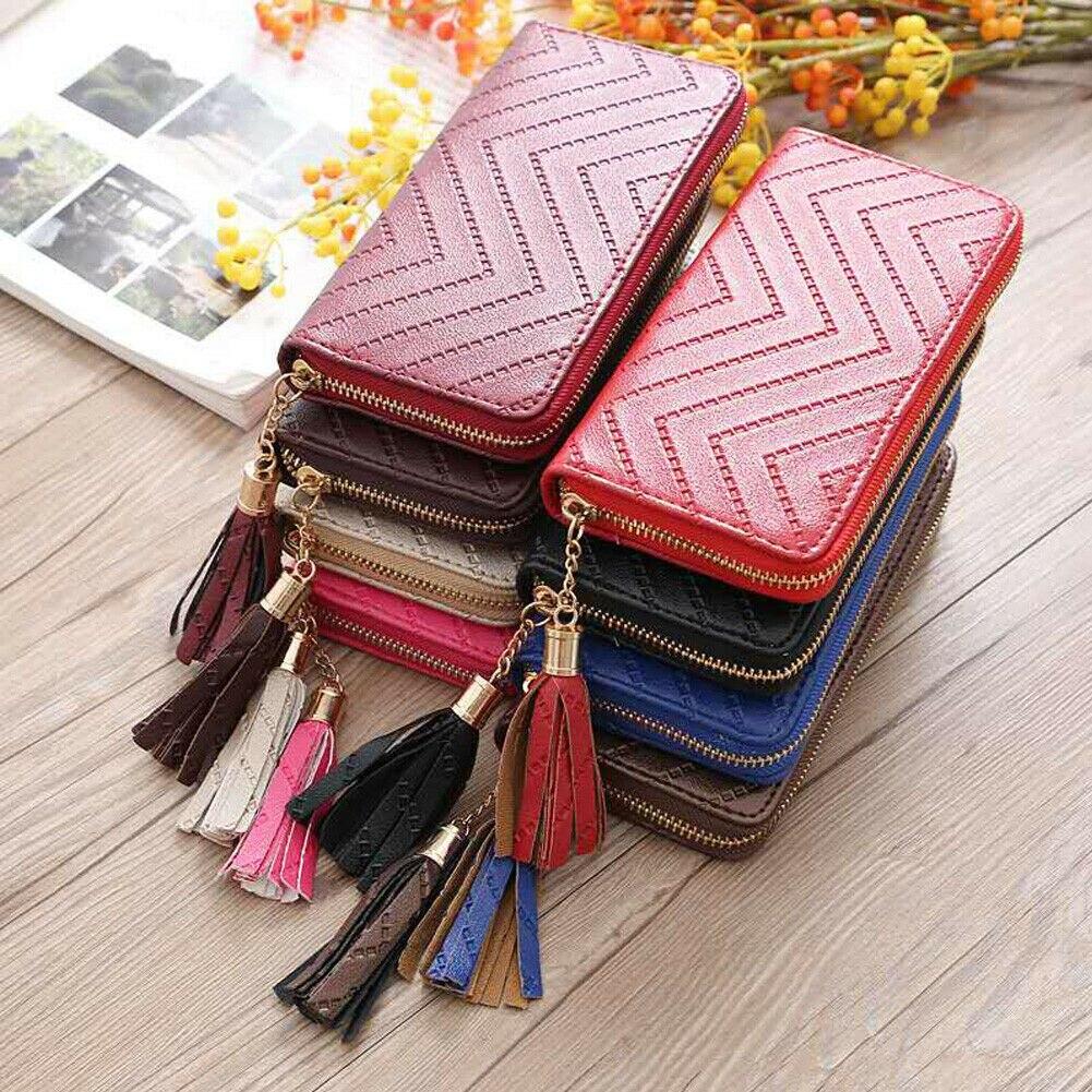New Fashion Lady Women Leather Clutch Wallet Long Card Holder Case Purse Handbag Solid Tassel 2019 Hot