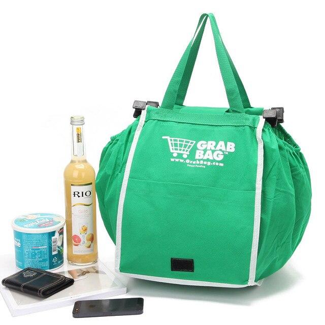 e374c792b Eco amigável grande capacidade clipe para carrinho de compras reutilizável  sacolas dobráveis pacote portátil mercado da