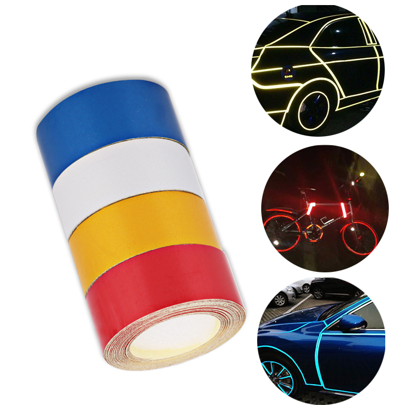 5m*2cm Red Car Reflective Tape Stickers Film Truck Motorcycle Reflective Tape Adhesive Safety Warning Tape Sticker Styling Auto 5sheets pack 10cm x 5cm holographic adhesive film fly tying laser rainbow materials sticker film flash tape for fly lure fishing
