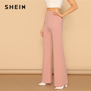 Image 2 - SHEIN Pink Elastic High Waist Straight Leg Solid Long Pants Women Trousers Office Lady Spring Elegant Workwear Wide Leg Pants