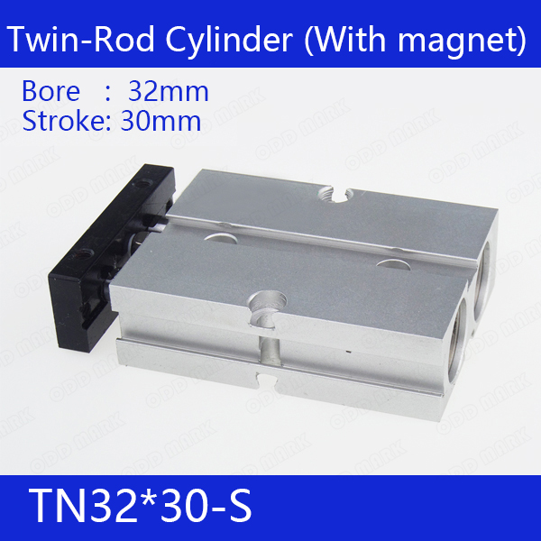 TN32*30-S Free shipping 32mm Bore 30mm Stroke Compact Air Cylinders TN32X30-S Dual Action Air Pneumatic Cylinder tn32 35 free shipping 32mm bore 35mm stroke compact air cylinders tn32x35 s dual action air pneumatic cylinder