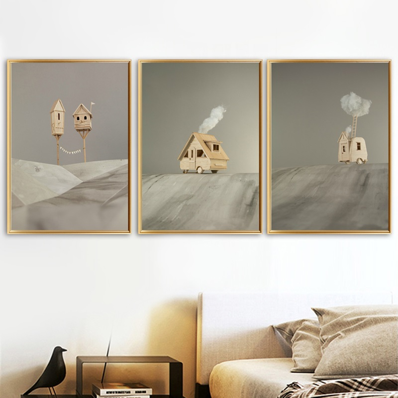 Surrealism Log Cabin Wall Art Canvas Painting Nordic Posters And Prints Landscape Wall Pictures For Living Room Home Decoration Painting Calligraphy Aliexpress