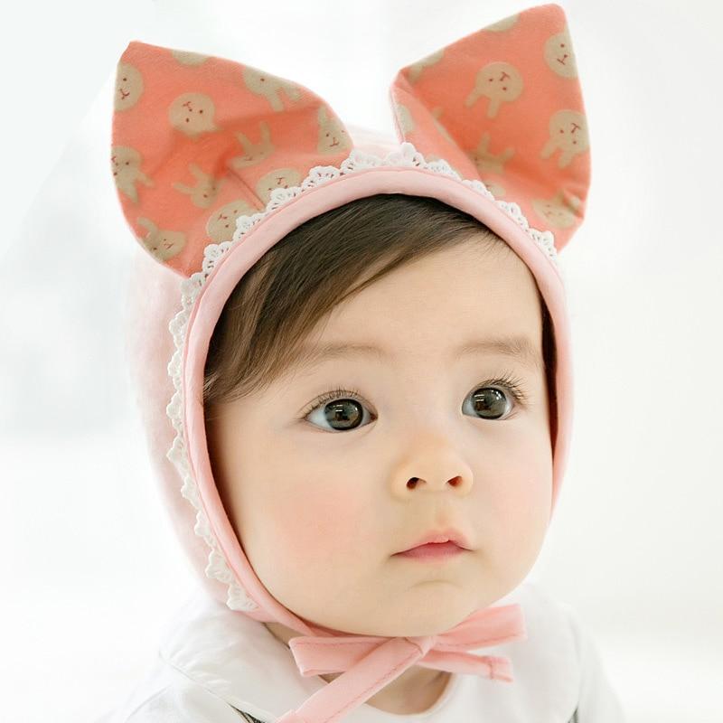 6 12 m Chapéus Do Bebê Bonito Meninas Do Bebê Do Laço Da Orelha Cap ... 90c28044e7d2