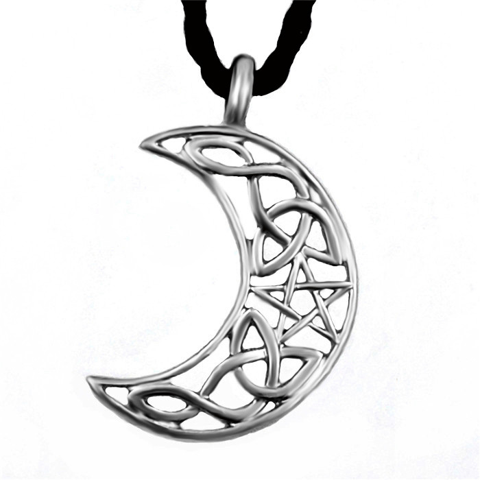 Silver hollow celtic cresent star knot moon mens womens fashion silver hollow celtic cresent star knot moon mens womens fashion pewter amulet pendant with leather necklace in pendants from jewelry accessories on aloadofball Image collections