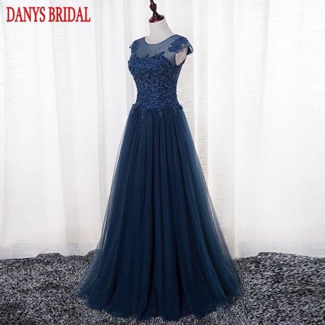 Kleid blau lang spitze