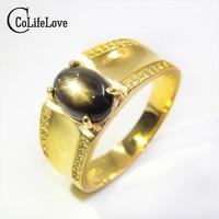 UOMO Vintage Anello 925 anello d'argento 6*8mm Luce Della Stella anello di Zaffiro naturale anello per l'uomo del re moda gioielli uomo in argento