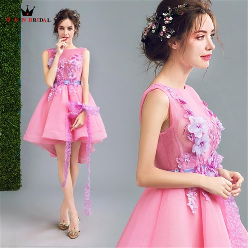 QUEEN BRIDAL Evening Dresses High Low Appliques Beaded Pink Short ...
