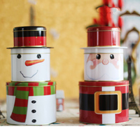 Santa Claus Tin Plate Candy Cookies Piggy Bank 3 Layers Money Save Pot Coin Box Snack