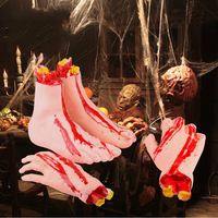 Party Tool Halloween Horror Props Bloody Hand Haunted House Party Decoration Scary Faked Human Arm Finger