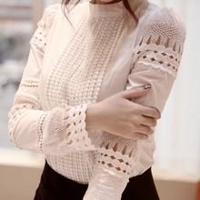 Nyári szilárd női Slim hímzés Hosszú ujjú pólók Horgolt fehér pamut blúz Modern Vocation stílus