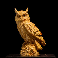 Owl Statues Figurines Solid Wood Animal Art Sculpture Wood Carving Art&Craft Home Decoration Accessories R547